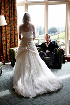 bride and groom marry at Menzies Welcombe hotel, Stratford, England