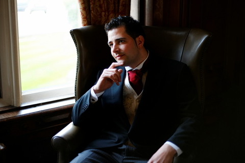 groom before wedding at Menzies Welcombe hotel Stratford, Midlands, England.