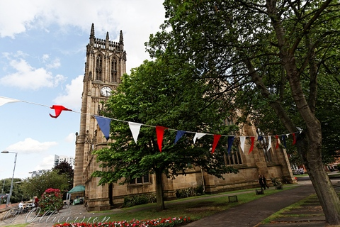 view of Leeds Parish Church, Leeds, Yorkshire, Leeds wedding photography, friendly female photographers, church weddings in Leeds