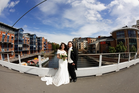 Millennium Bridge Leeds, Yorkshire wedding photography, quality wedding photographers Leeds