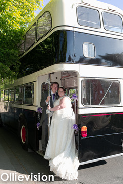 wedding photographers Leeds, wedding photographers Armley, Armley conservative club, bride on classic bus,