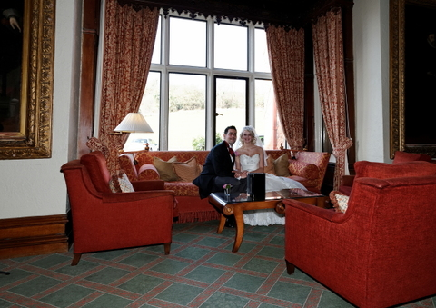 bride and groom in lounge of Welcombe Hotel, Stratford, Menzies hotels