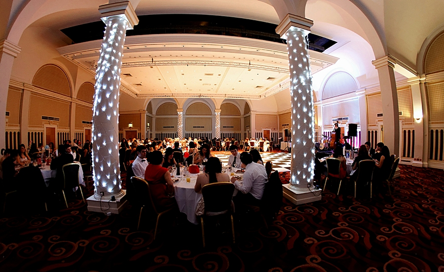 Queen's Hotel, Leeds, England, ballroom, dinner tables. Conference venues in Leeds